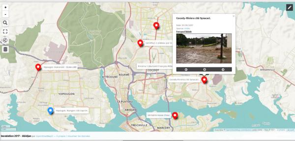 C'est une carte collaborative ouverte à tout citoyen capable d'ajouter un maker (point), représentant une zone inondée et y associer une image. Pour les personnes qui n'y arrivent pas du tout, elles nous envoient les images et les coordonnées de l'endroit en commentaire. Nous nous chargeons d'entrer les données